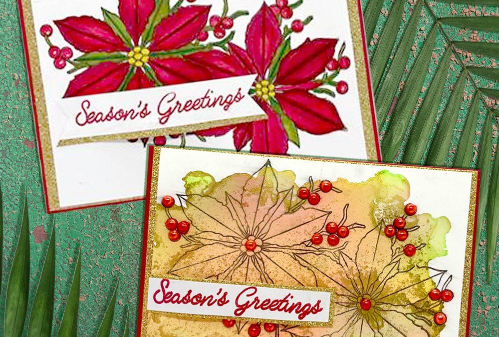 Christmas Pionsettia Cards with Cheryl